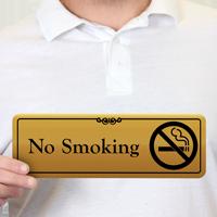 No Smoking Gold DiamondPlate™ Door Sign