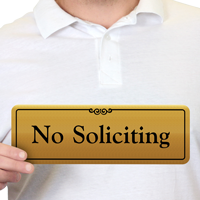 No Soliciting Gold DiamondPlate™ Door Sign