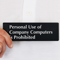 Personal Use of Company Computers Prohibited Sign