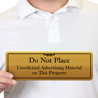 Don't Place Unsolicited Advertising Material Property Door Sign