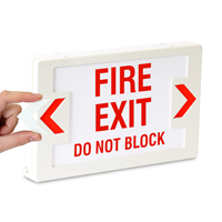 Fire Exit Do Not Block LED Exit Sign with Battery Backup