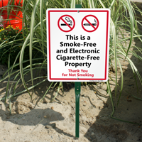 Electronic Cigarette-Free Property LawnBoss Sign Kit