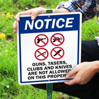 No Guns Tazers Clubs & Knives Sign
