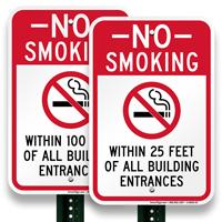No Smoking Of Building Entrance Sign