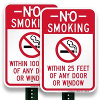 No Smoking Near Any Door Or Window Sign