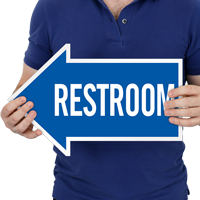 Restroom, Left Die-Cut Directional Signs