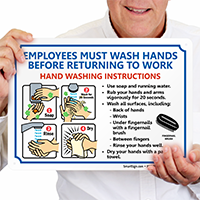 Employees Wash Hands Steps Signs