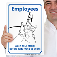 Wash Your Hands Before Returning Work Signs