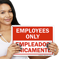 Employees Only Bilingual Sign
