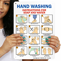 Hand Washing Instructions For Soap And Water Sign