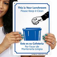 Bilingual Lunchroom Please Keep it Clean Sign