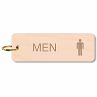 Men Restroom Wood Key Chain