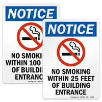 No Smoking Within 8, 20, 25 or 100 Feet Sign