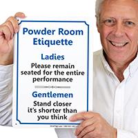 Powder Room Etiquette Ladies Gentlemen Restroom Sign