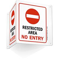 Restricted Area No Entry (with symbol) Sign