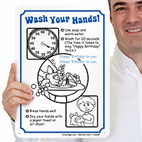 Wash Hands Prevent Swine Flu Sign