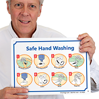 Safe Hand Washing Instruction Steps Signs