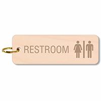 Unisex Restroom Wood Keychain