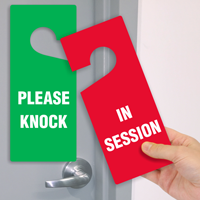 In Session Please Knock 2-Sided Door Hang Tag