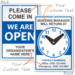Custom 2-Sided Building Manager Be Back Sign