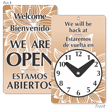 Bilingual Be Back Clock Sign (2-Sided)