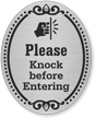 Please Knock Before Entering DiamondPlate Door Sign