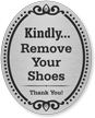 Remove Your Shoes Thank You DiamondPlate Door Sign