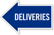 Deliveries, Left Die-Cut Directional Sign