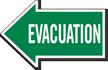 Evacuation, Left Die-Cut Directional Sign