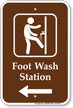 Foot Wash Station Sign with Left Arrow