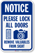 Lock All Doors Remove Valuable From Sight Sign