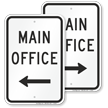 Main Office With Left Arrow Sign