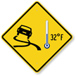 Icy Roads Car 32°F Thermometer Symbol Sign