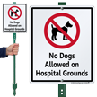 No Dogs Allowed On Hospital Grounds Sign