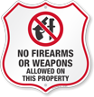 No Guns Shield Sign