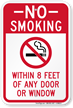 No Smoking Within 8 Feet Of Door Sign