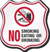 No Smoking Eating Or Drinking Shield Sign