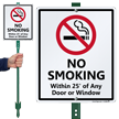 No Smoking Within 25' On Any Door Sign
