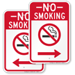 No Smoking Sign with Right Arrow