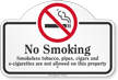 No Smoking Smokeless Tobacco Pipes Dome Top Sign