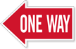 One Way, Left Die-Cut Directional Sign