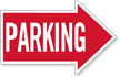Parking, Right Die-Cut Directional Sign