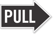Pull, Right Die-Cut Directional Sign
