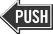 Push, Left Die-Cut Directional Sign