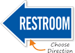 Restroom, Left Die-Cut Directional Sign