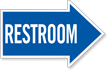 Restroom, Right Die-Cut Directional Sign