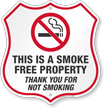 Smoke Free Property Thank You For Not Smoking Shield Sign