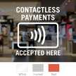 Contactless Payments Accepted Here Window Decal
