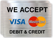 We Accept Debit And Credit Label