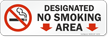 Designated No Smoking Area Down Arrows Symbol label